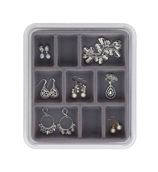 Jewelry Tray Stax 9 Compartments is a flockcovered jewelry