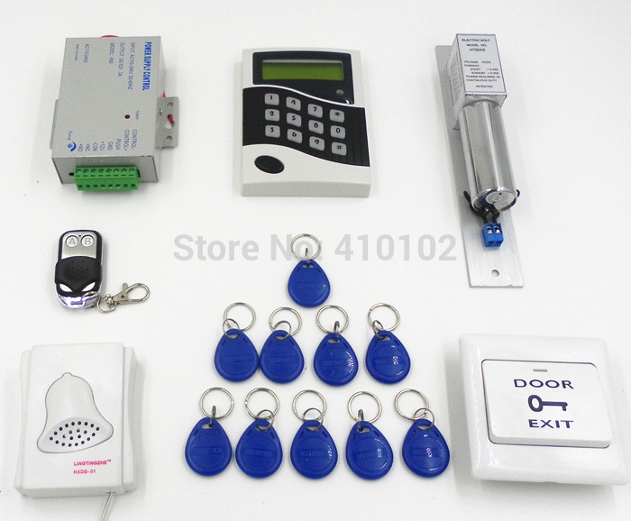 99.00$  Watch now - http://ali4z6.worldwells.pw/go.php?t=653069935 - Electric Bolt Door Lock + LCD Display Screen Door Access Control Kit + Special Power Supply +10 RFID Card 99.00$