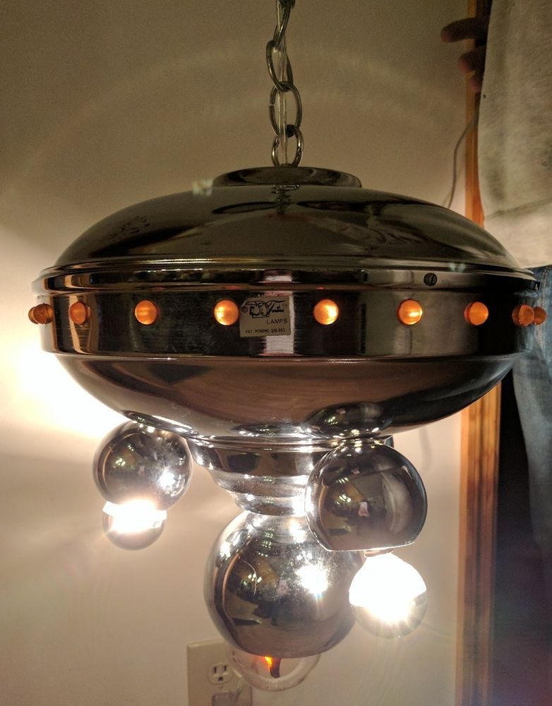 Rare Torino Atomic Spaceship Chrome Mid Century Ceiling Hanging Light Up Italy Hanging Ceiling Lights Chrome Mid Century