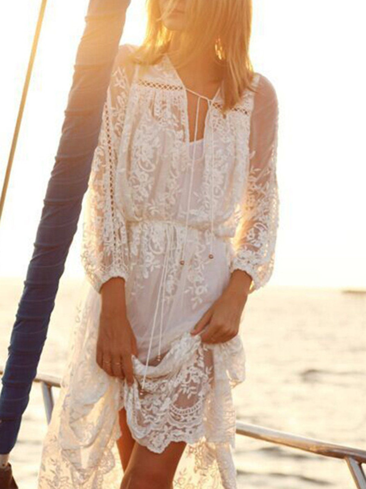 Shop boho-dress - White Solid Swing Basic Lace Boho-Dress online