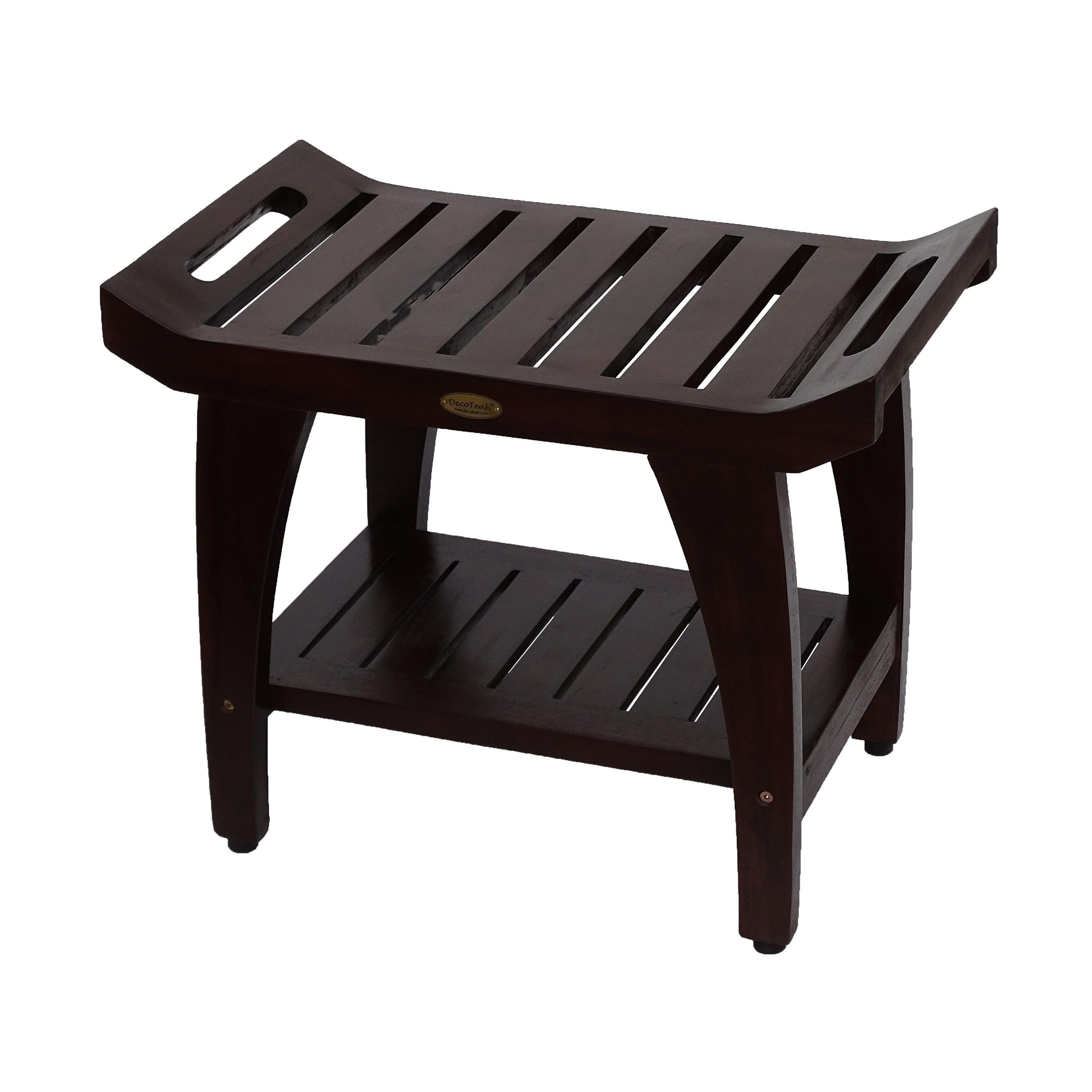 24 Decoteak Tranquility Shower Bench With Large Storage Shelf