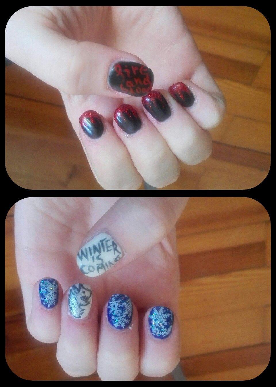 Game of thrones nails Stark&Tagaryen | Game of Thrones Nails | Pinterest