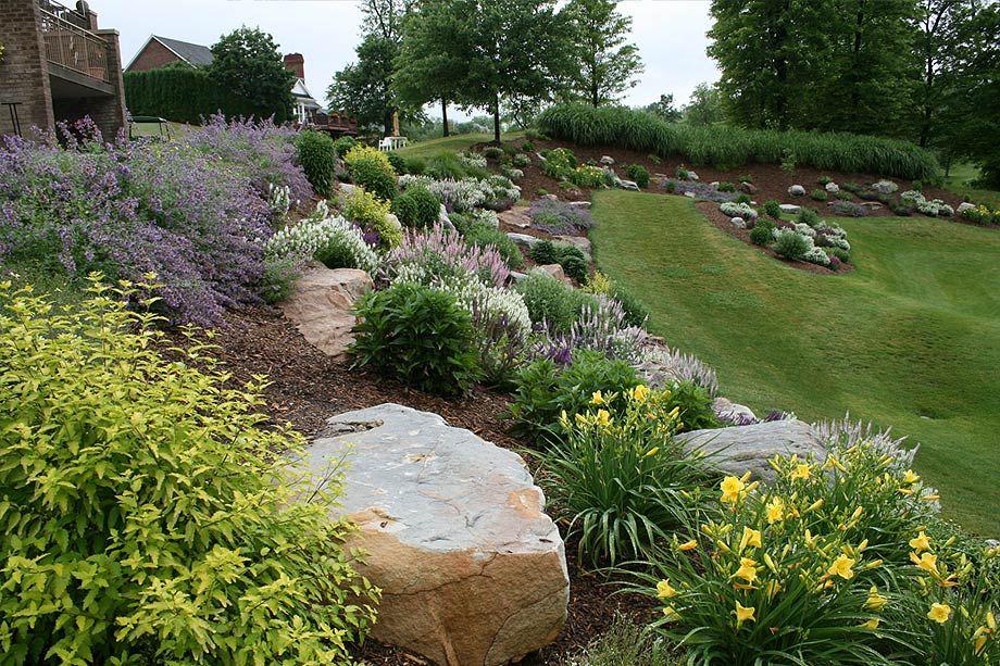 landscaping with big rocks hillside