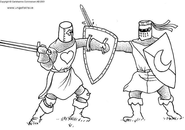 Kleurplaten Ridders.Kleurplaat Ridders En Kastelen Ridders Middeleeuwse