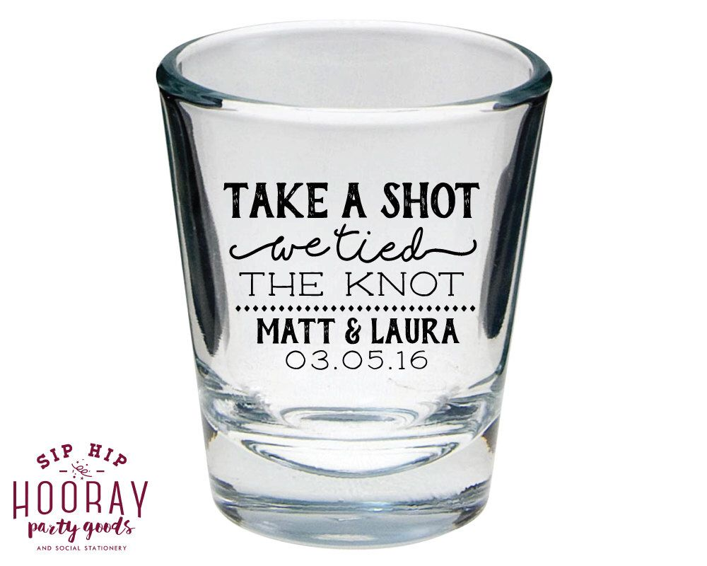 Personalised wedding Shot Glass we tied the knot party drinks toast favours
