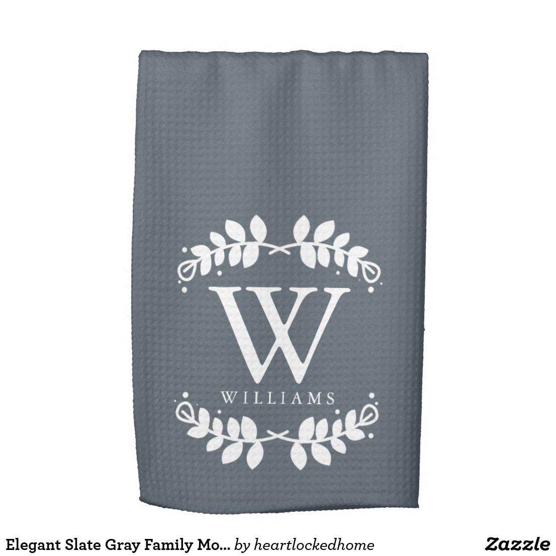Elegant Slate Gray Family Monogram Kitchen Towel Zazzle Com