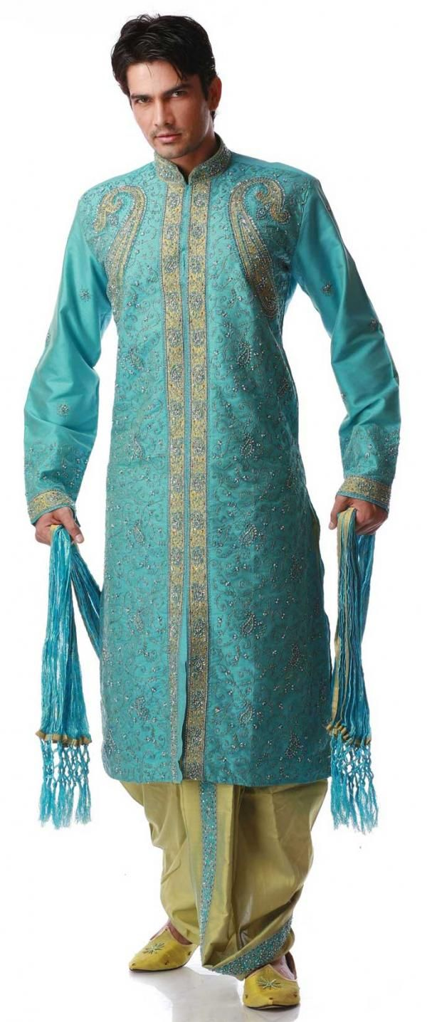 Light Blue Embroidered Designer Dhoti Kurta | INDIAN MAN CLOTHING ...