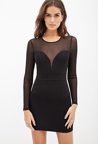 Textured Mesh Paneled Dress Forever21 2000102922 Beauty