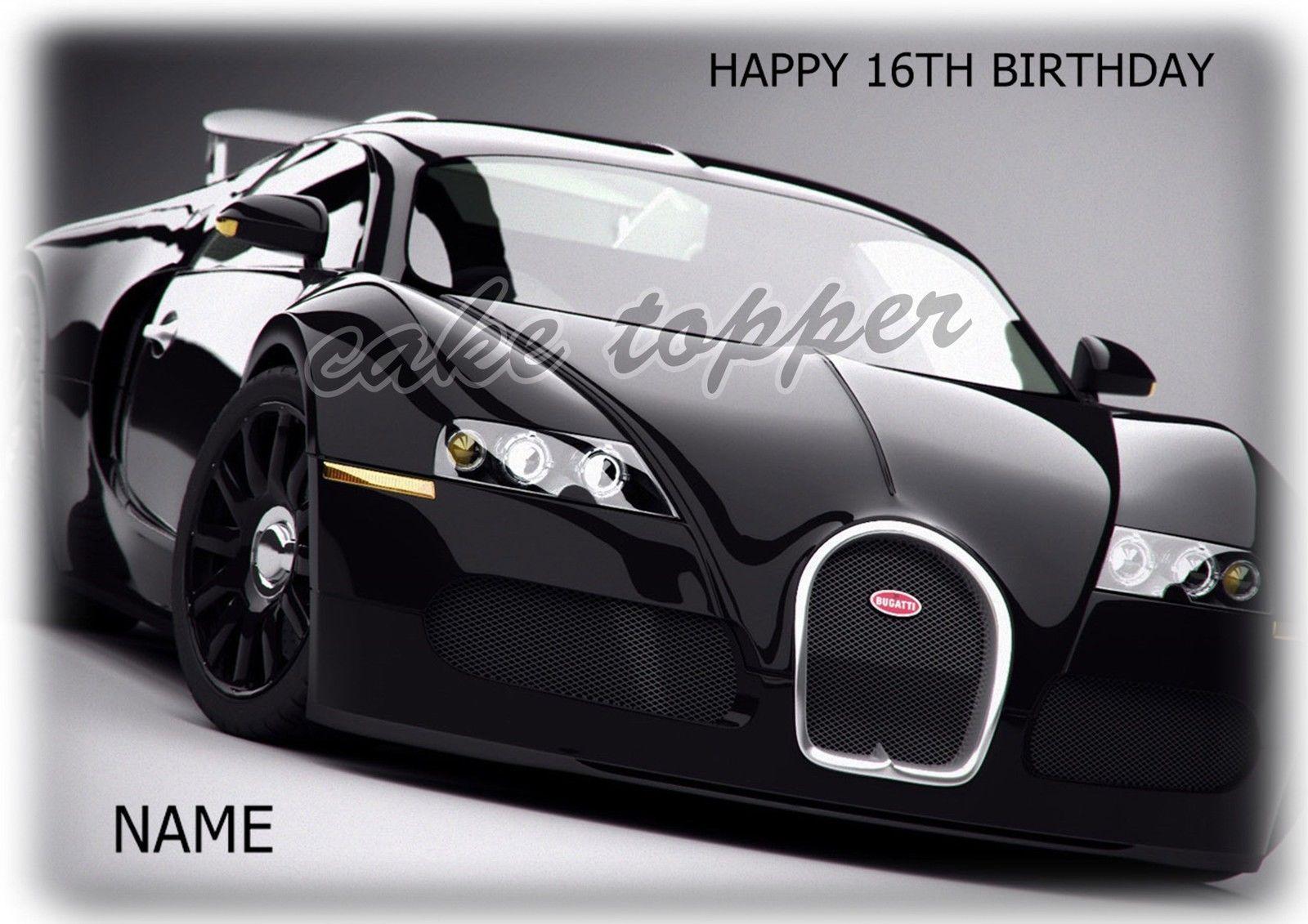 Bugatti Super Sports Car A4 Rectangle Edible Icing Sheet Birthday