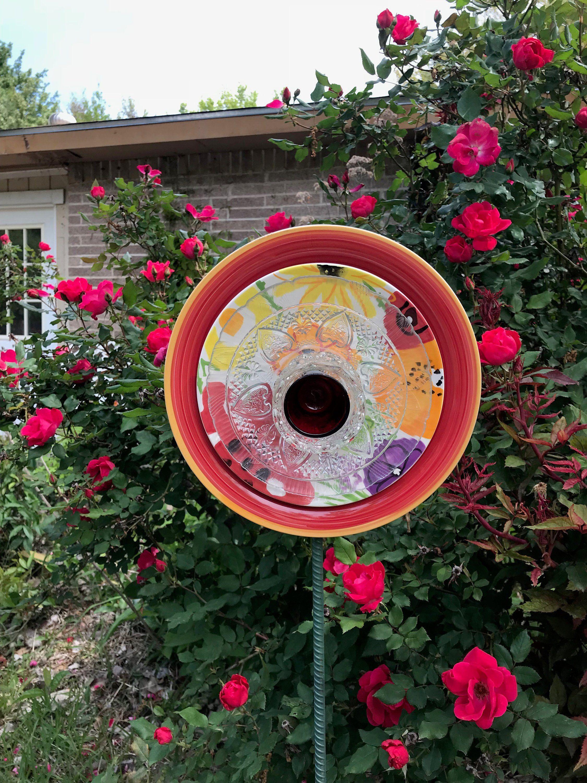 Garden decor kijiji  Glass plate flower Glass flower Glass decor Glass yard art Yard