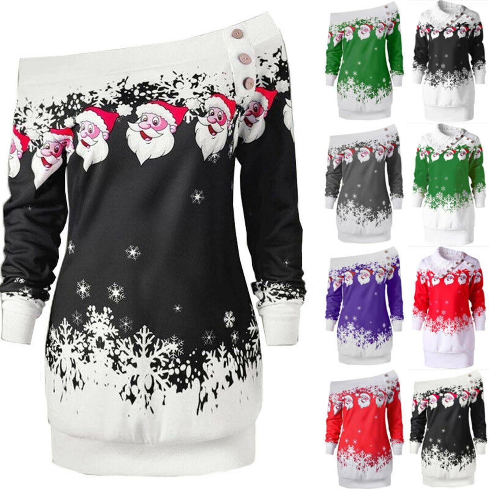Womens Christmas Jumper Mini Dress Party Xmas Santa Claus