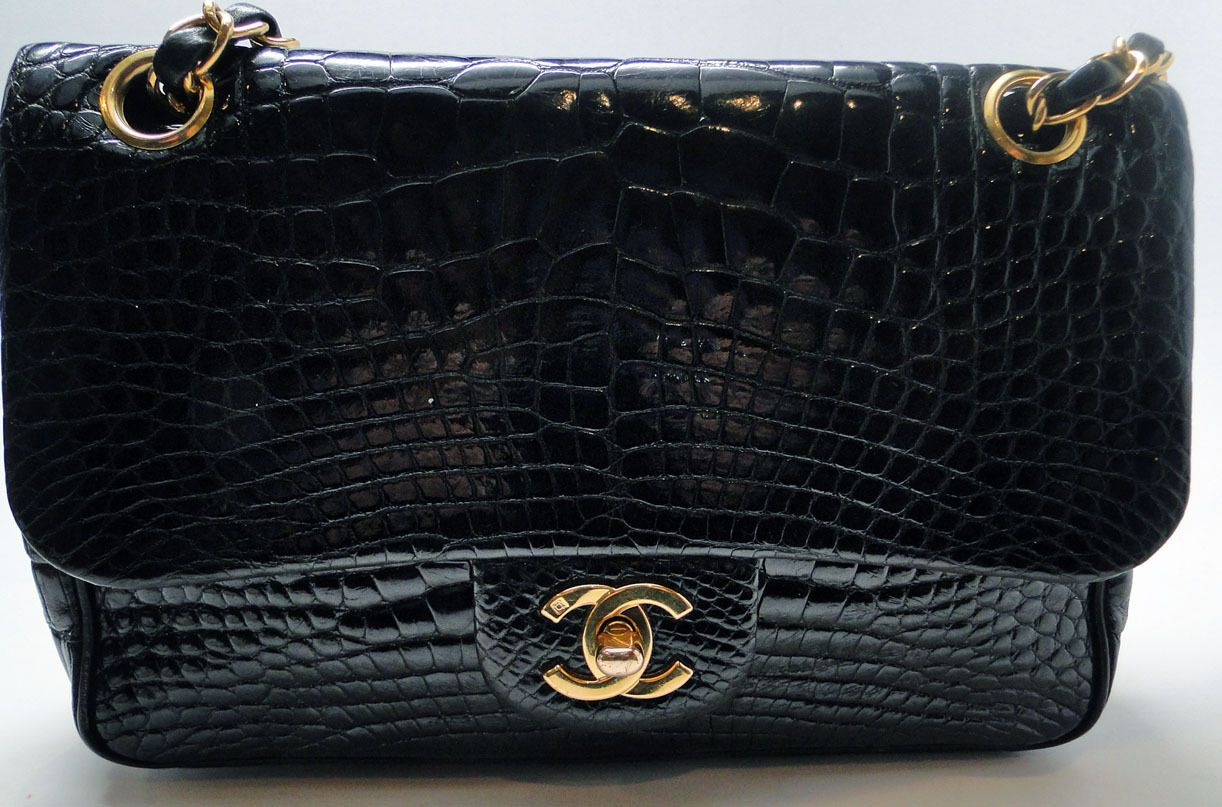f7b54bf50f8d Chanel Alligator Classic Flap Shoulder Bag with GHW