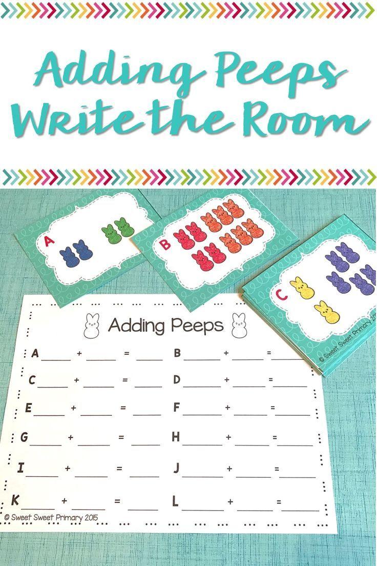 Adding Peeps Write the Room | A Spring Math Center | Kindergarten ...