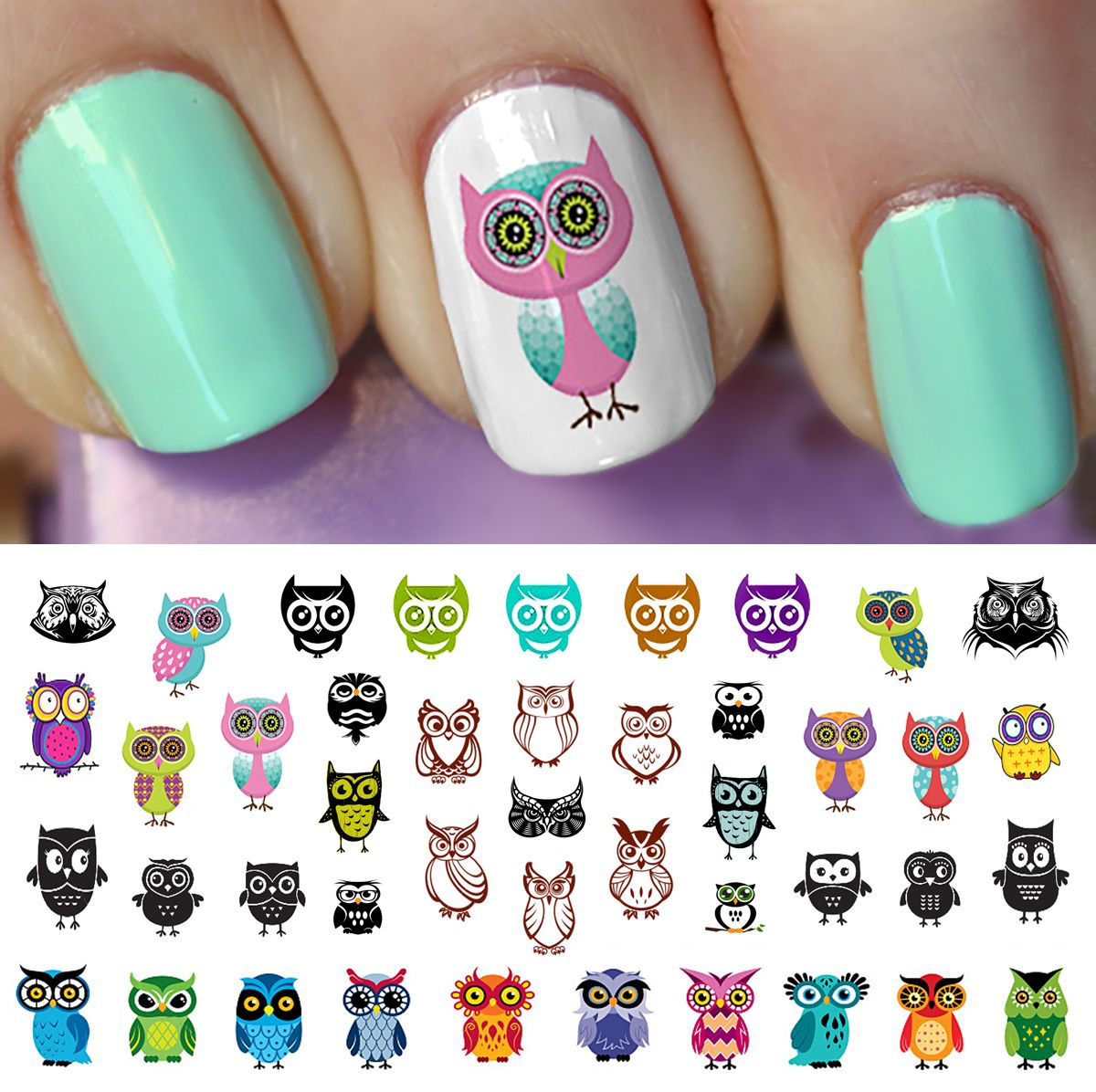 Owl nail art from www.moonsugardecals.com | Owl Nail Art Decals ...