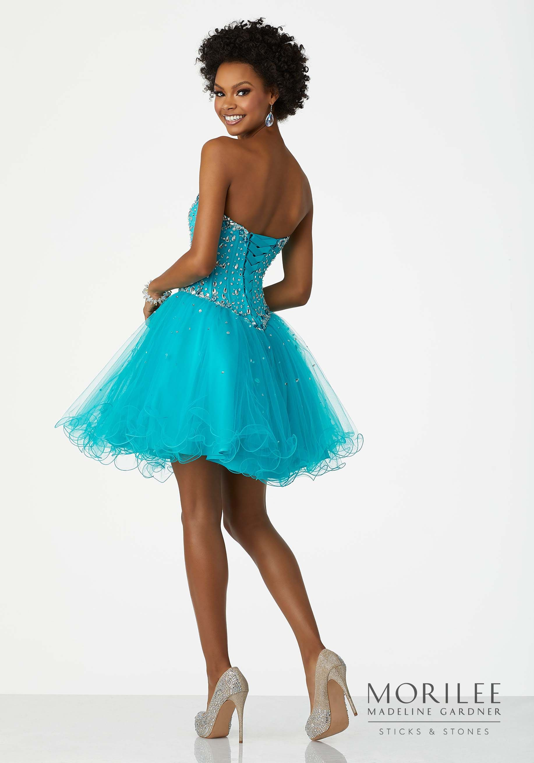 Blue Beaded Tulle Party Dress with Sweetheart Neckline and Corset ...