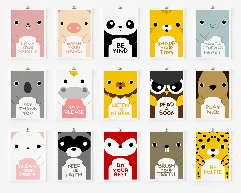 Be Kind Cute Panda Animal Nursery Wall Art Children Decor Animal Art Prints