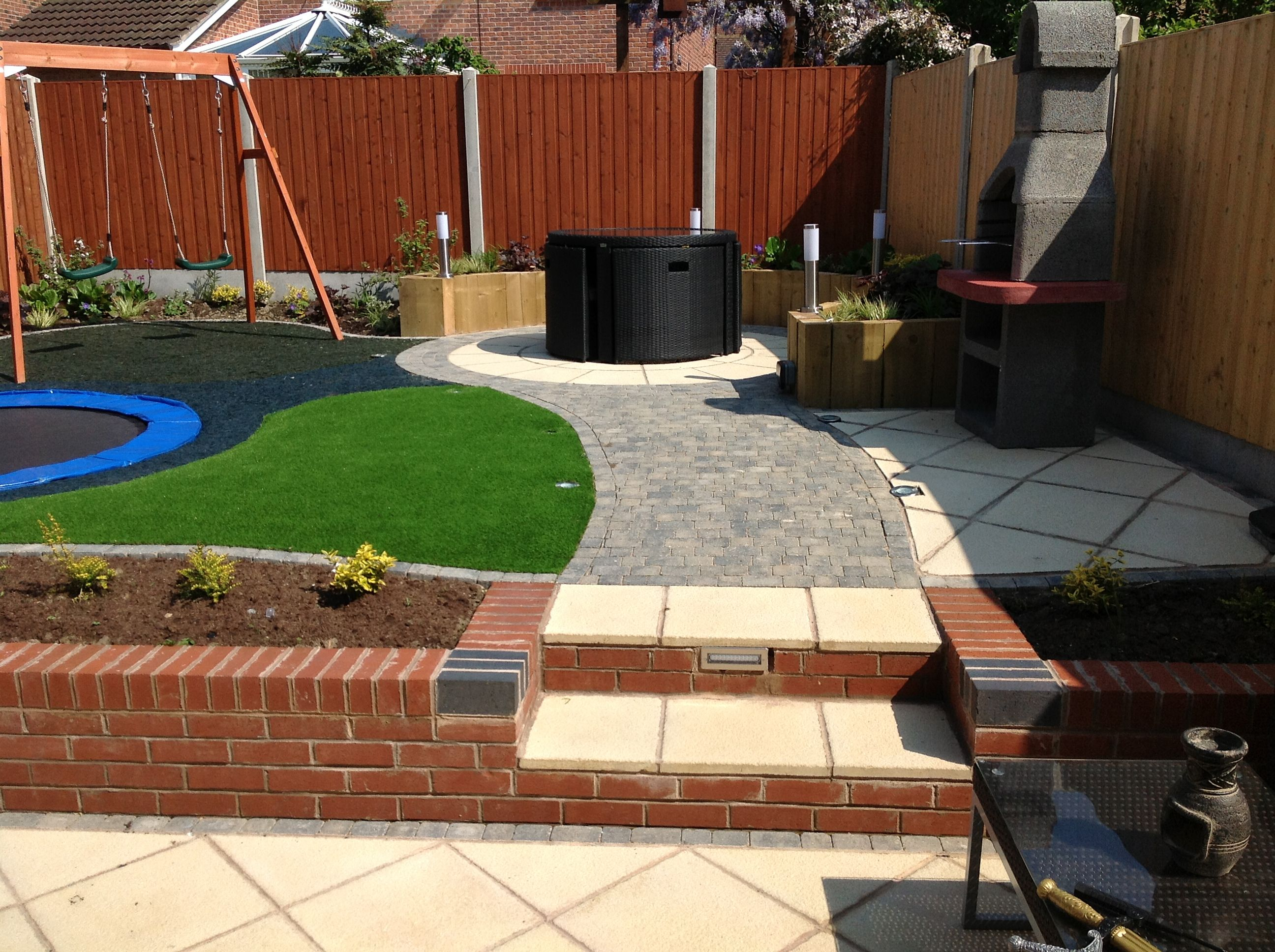 completed garden designs and construction with sunken trampoline - Garden Design With Trampoline