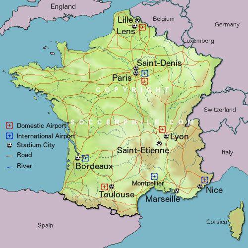 Map Of France For Euro Soccer Pinterest Maps Map Of - Maps soccer