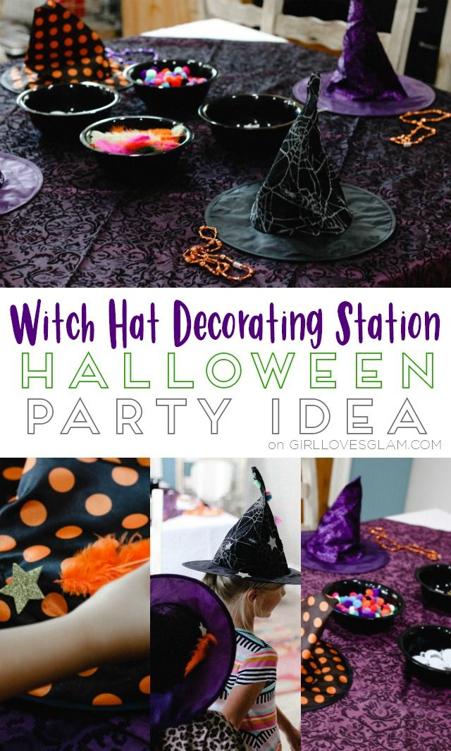 Witch Hat Decorating Station Halloween Party Idea - Girl Loves Glam & Witch Hat Decorating Station Halloween Party Idea   Halloween ...