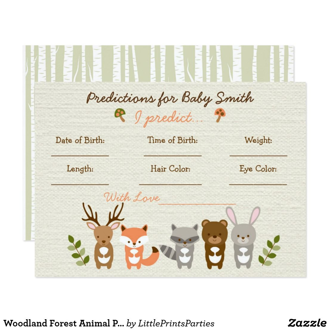 Woodland Animal Predictions For Baby Game