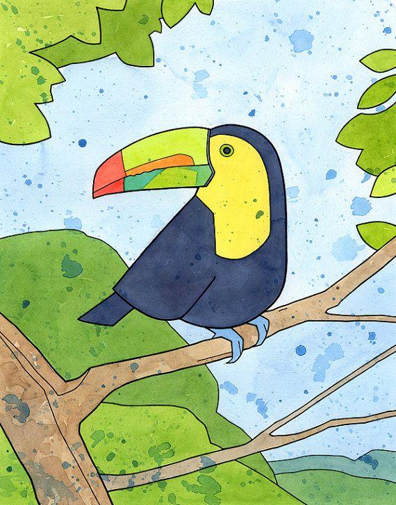 Colorful toucan art print, 8x10 tropical rainforest illustration