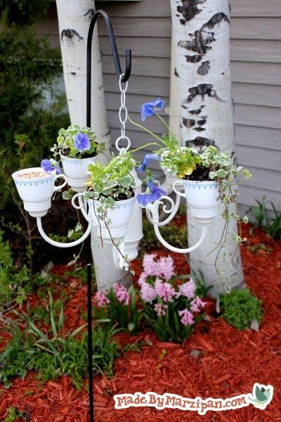 Tea Party Planter Chandelier Planter Hanging Flower Pots Gardening For Kids