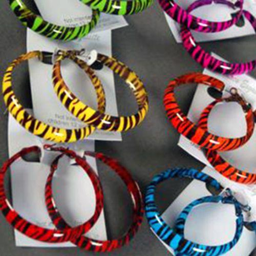 """Zebra Animal Print Baked Enamel Metal 2"""" Long Hoop Earrings #Unbranded #Hoop"""