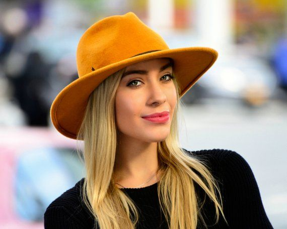 Wide Brimmed Fedora Hat Women s Hat Fall Fashion Fall Accessories Gold  Fedora Hat Mustard Golden Yel fb767de0a9c