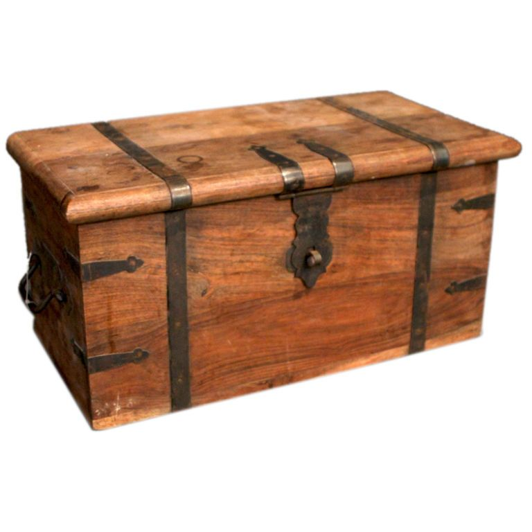 Antique Wooden Trunk  Sterlingsilverjewelry Wood trunk and