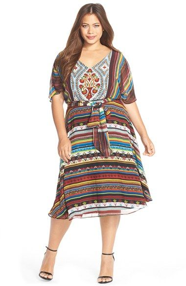 Gabby Skye \'Boho Chic\' Belted Print Chiffon Dress (Plus Size ...