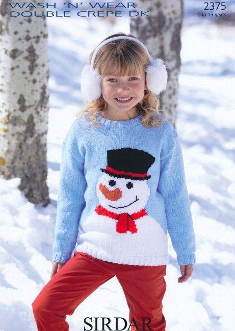 Sirdar Pattern 2375 Snowman Sweater In Wash N Wear Dk Christmas
