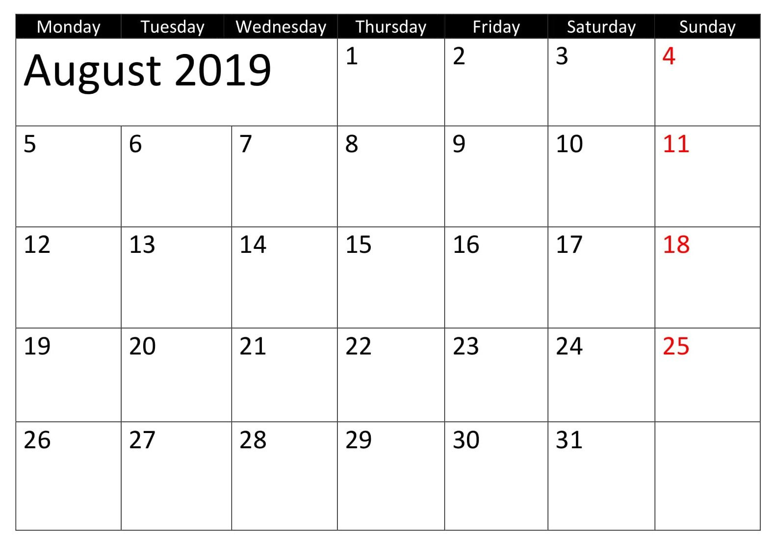 August Monthly 2019 Calendar With Holidays Personal Calendar