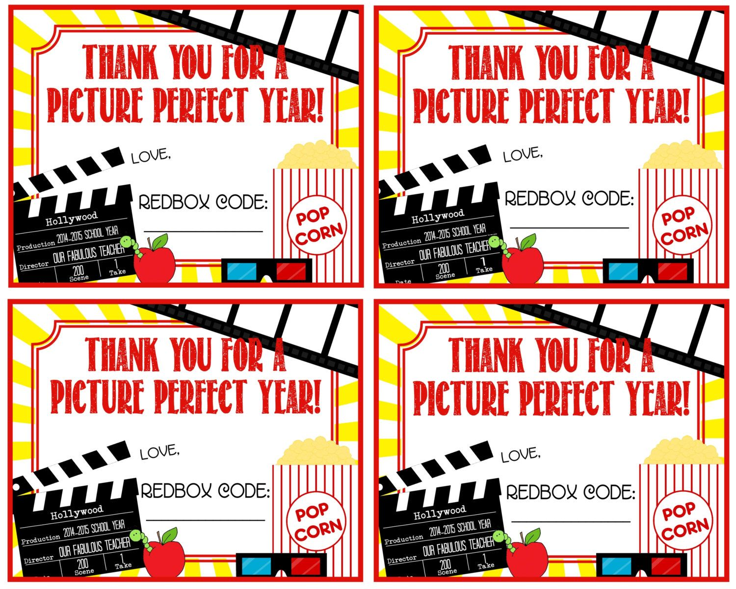 Teacher Appreciation Redbox Gift Tag   Thank You For A Picture Perfect  Year!   Printable   Instant Download By Pinkowlpartydesign On Etsy ...