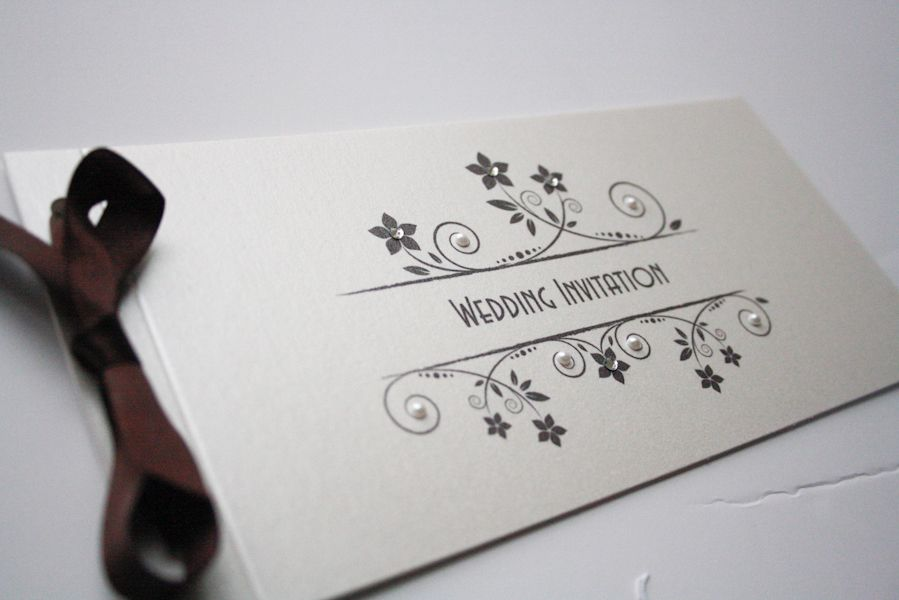 Diamond and Pearls Ivory & Chocolate Cheque Book Invitation with ...