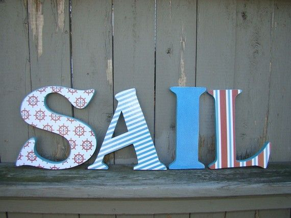 Wooden letters for nursery Nautical Nursery Inspiration