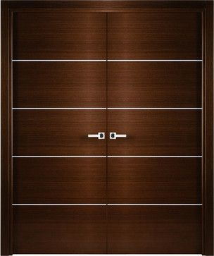 Lovely Contemporary Italian Wenge Interior Double Door With Decorative Strips    Contemporary   Interior Doors   Tampa