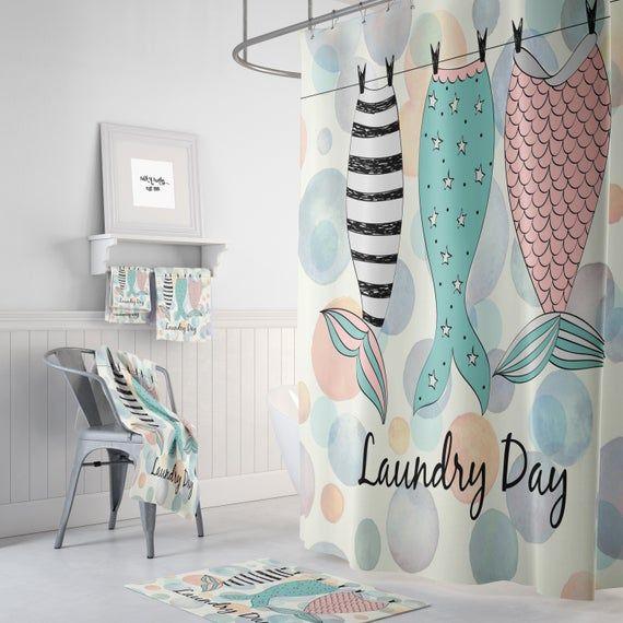 Mermaid Shower Curtain, Mermaid bathroom Decor, Mermaid Tails