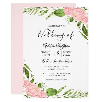 Modern blush floral watercolor wedding invitation wedding modern blush floral watercolor wedding invitation wedding invitations cards custom invitation card design marriage party stopboris Image collections
