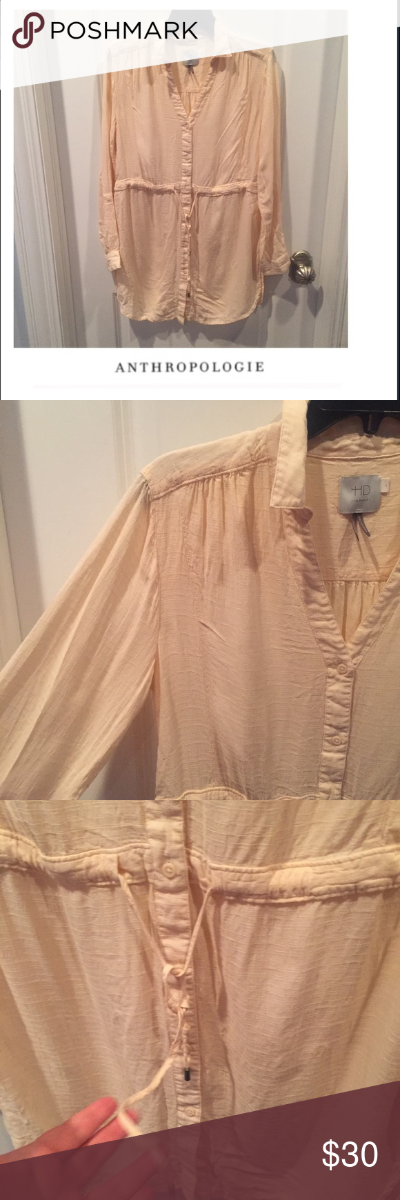 """Anthropologie HD in Paris Pale Pink Tunic Anthropologie HD in Paris Pale Pink Tunic. 17"""" bust. 29"""" long. Rounded hem. Side slits. Gently worn. Great condition. Gently worn. Great condition. Feel free to make an offer or bundle & save. Anthropologie Tops Tunics"""