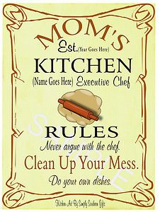 Mom\'s Kitchen Rules Personalized Picture Sayings Poster. $10.00 ...