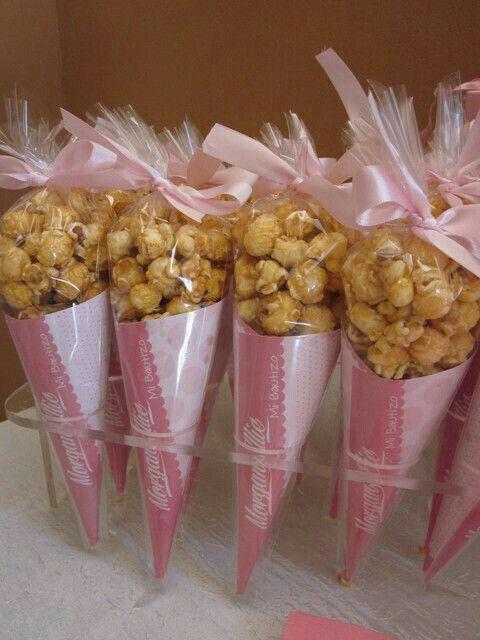 Conos de palomitas acarameladas Color rosa