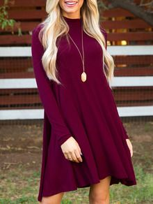 Burgundy Long Sleeve Shift Dress