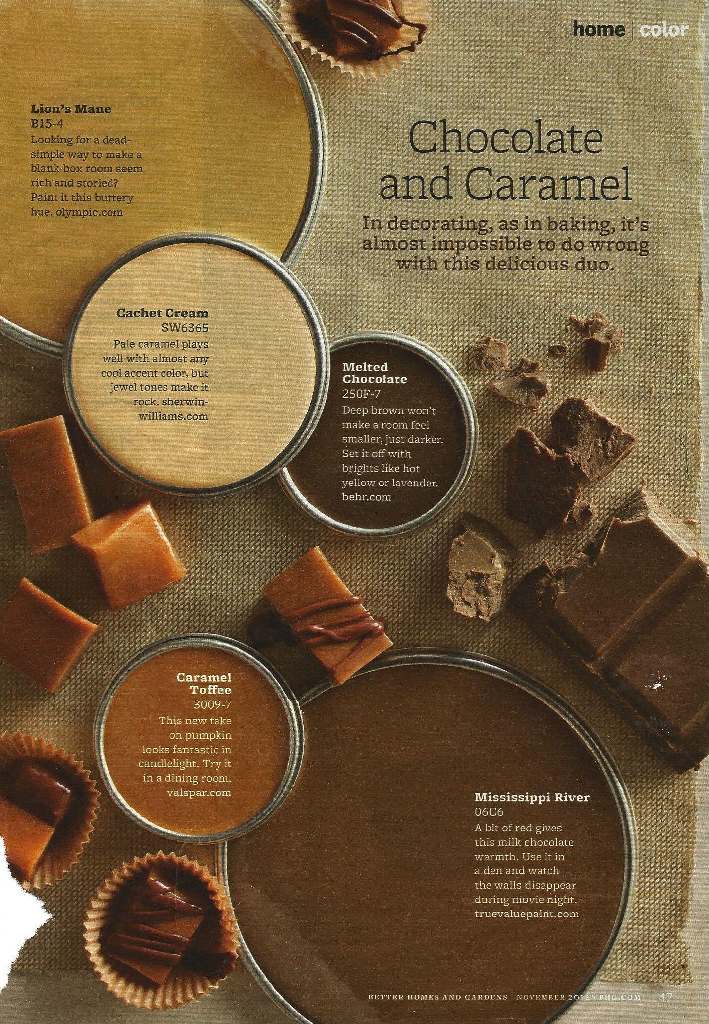 Chocolate And Caramel Color Scheme Bhg November 2012 Paint