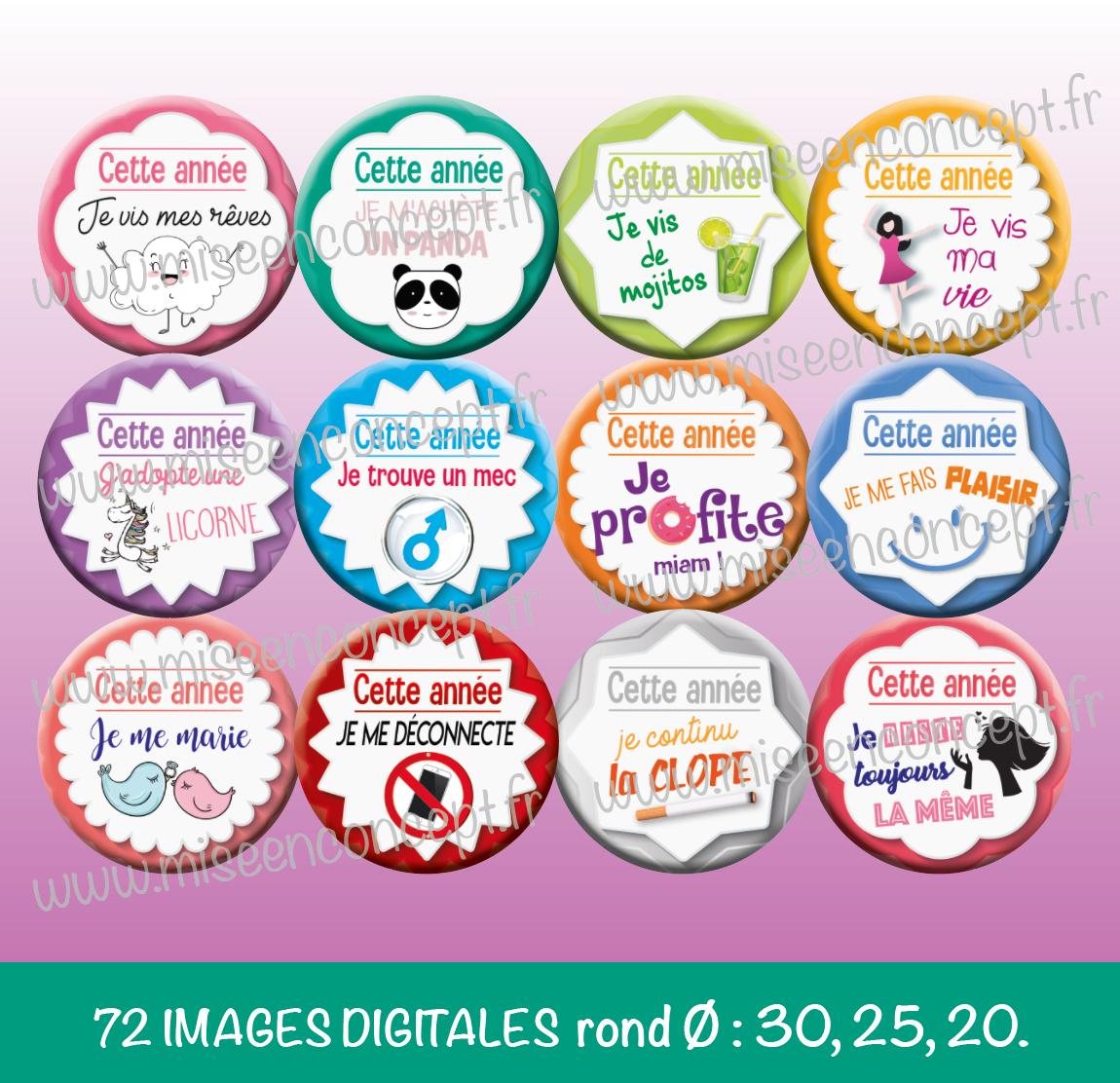 72 IMAGES DIGITALES - RÉSOLUTIONS 2019 - ROND - IMAGES CABOCHONS - BONNE  ANNÉE - BIJOUX 6da5a9ac077