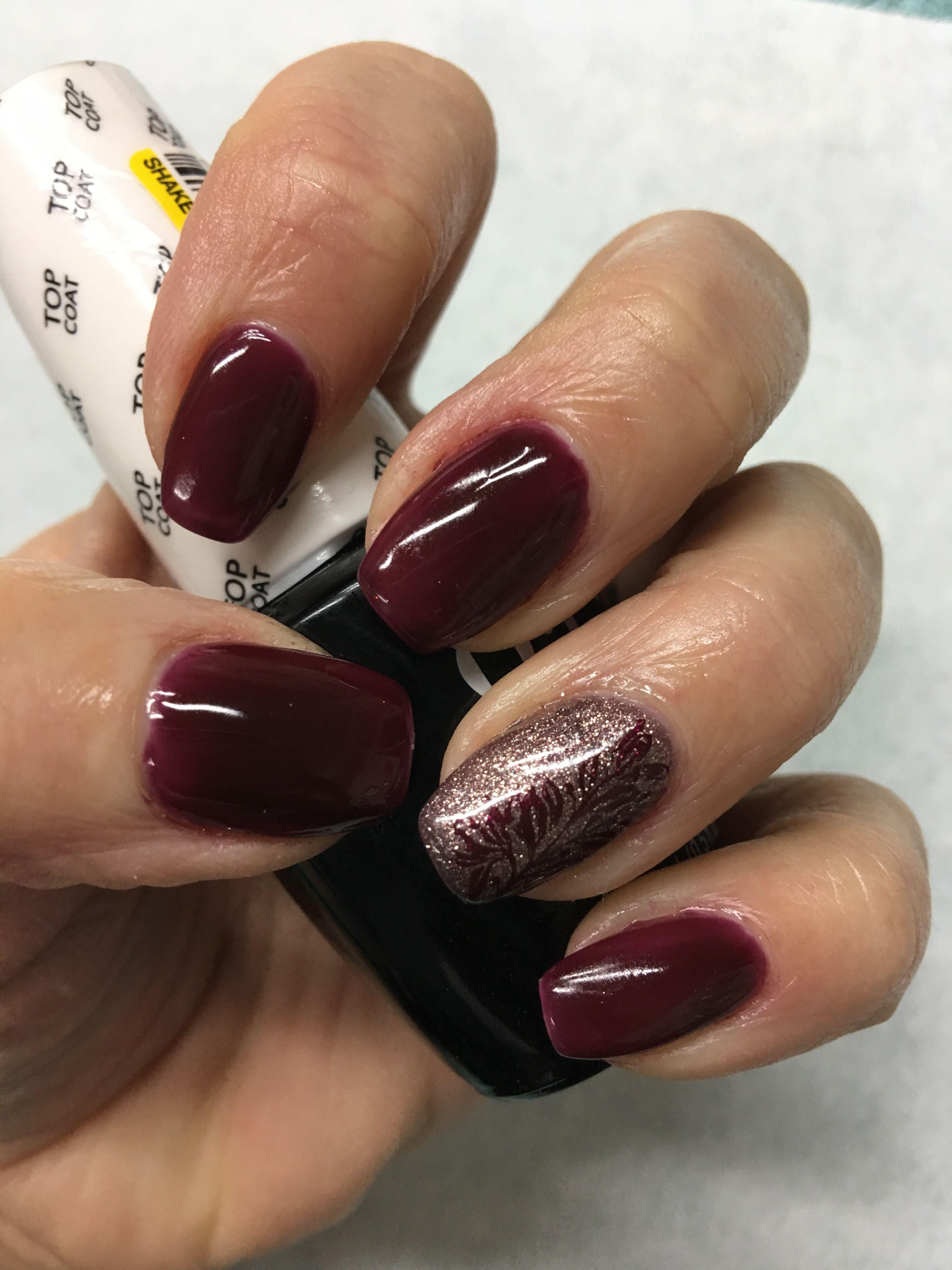 Fall Dark Berry Sparkle Bronze Stamped leaf vine mini coffin gel ...