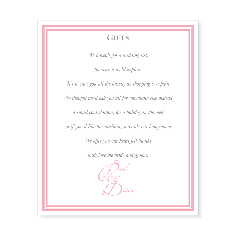Wedding Gift Poems Asking For Money Towards Honeymoon | Midway Media