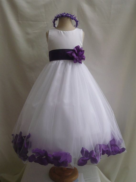 Flower Girl Dress WHITE/Purple PETAL Wedding Children Easter ...