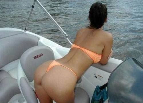 Fishing boat girls on bikini