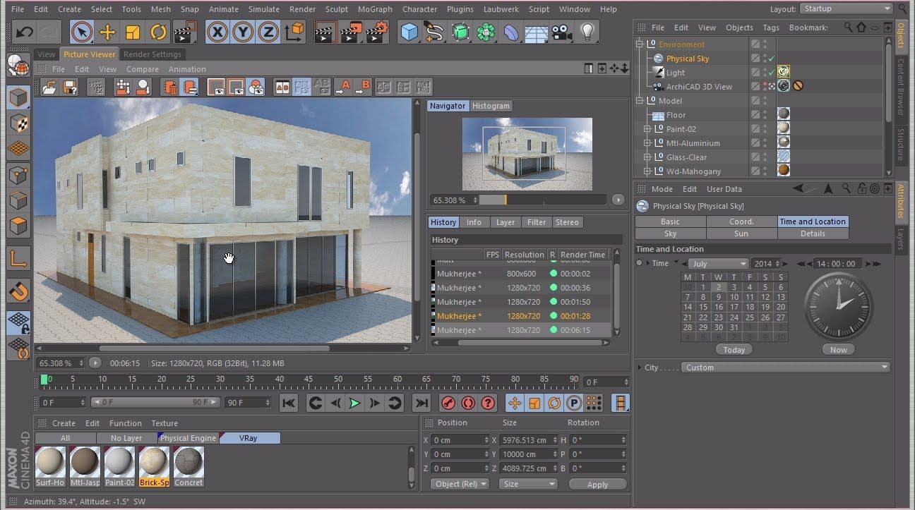 Rendering an ArchiCAD Model in Cinema 4D with VRay | C4D