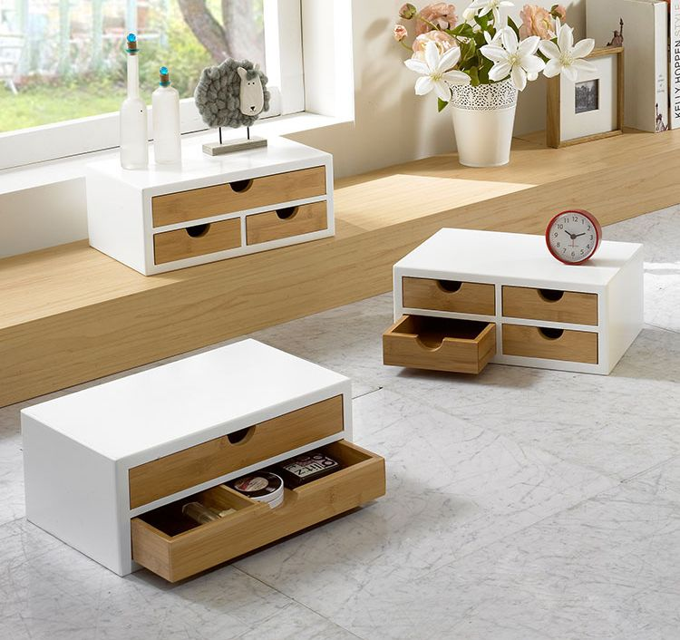 white box with bamboo drawers tabletop